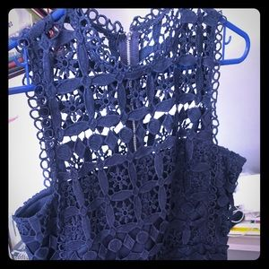 Lulu's crocheted navy sleeve-less dress